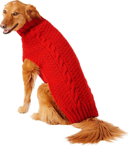 Chilly Dog Red Cable Knit Wool Dog Sweater