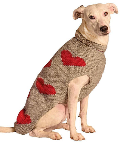 Chilly Dog Red Hearts Organic Wool Dog Sweater