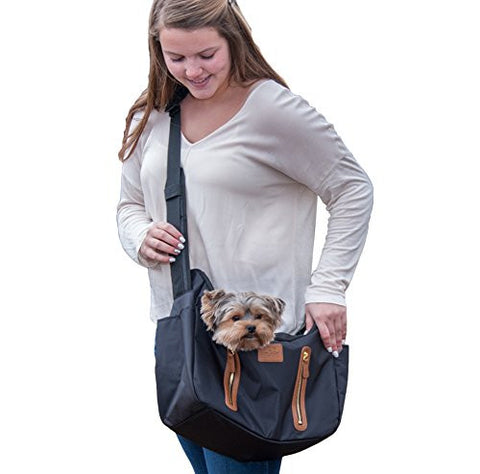Pet Sling Carrier R&R for Dogs and Cats - Rocco's Pets  - Carriers - Pet Gear Black - 1