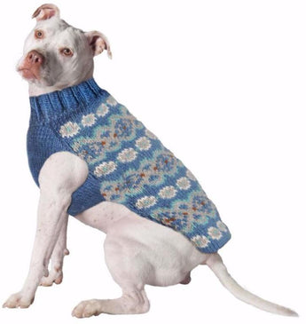 Chilly Dog Fairisle Alpaca Teal Handmade Dog Sweater