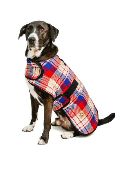 Chilly Dog Blanket Coat Red Field Plaid 100% Wool
