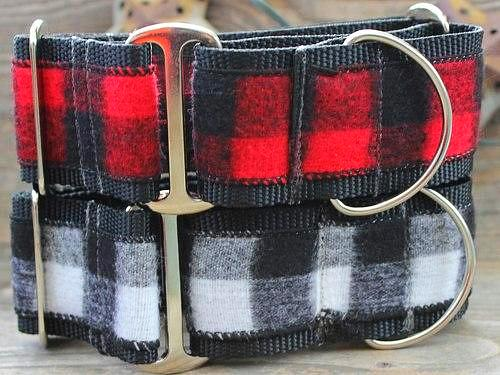 Buffalo Plaid Martingale Dog Collar - Red or White