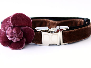 Camellia Dusty Rose Adjustable Velvet Dog Collar - Rocco's Pets  - Collars - Diva Dog Teacup - 1