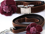 Camellia Dusty Rose Adjustable Velvet Dog Collar - Rocco's Pets  - Collars - Diva Dog Collar & Leash Set - Teacup - 2