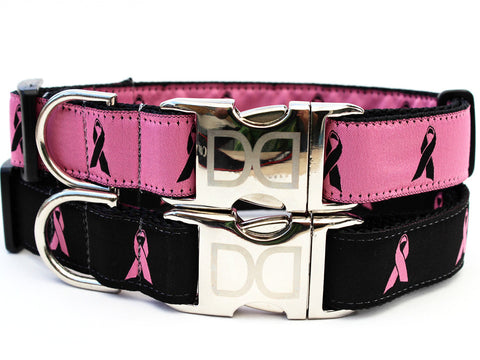Cancer Awareness Adjustable Nylon Dog Collar - Rocco's Pets  - Collars - Diva Dog  - 1