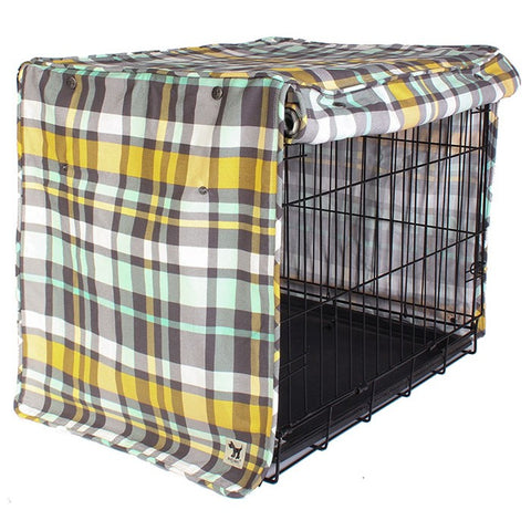 Northwestern Girl Plaid Dog Crate Cover