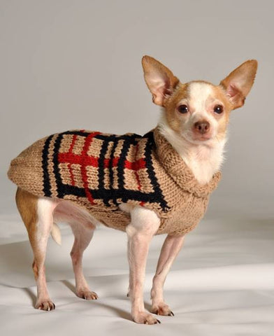 "Handmade 100% Wool Dog Sweater Tan Plaid - Rocco's Pets  - Sweater - Rocco's Pets XXSmall - 8-9"" length, 2-5 lbs - 2"