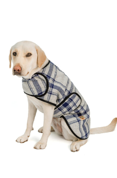 Chilly Dog Blanket Coat Grey Blue Plaid 100% Wool
