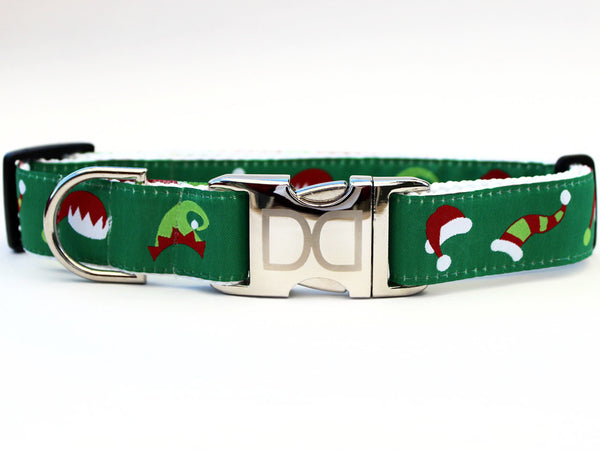 Elf Hats Holiday Dog Nylon Collar and Leash - Rocco's Pets  - Collars - Diva Dog Med/ Lge : 1 in. x 16-24 in. - 2