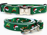 Elf Hats Holiday Dog Nylon Collar and Leash - Rocco's Pets  - Collars - Diva Dog Set: M/L Collar & Leash - 1
