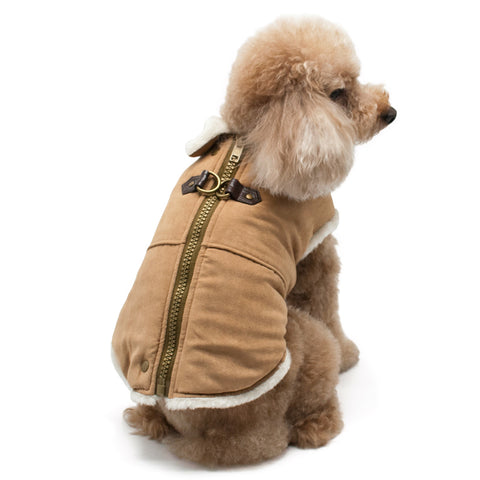 Furry Runner Dog Coat Beige