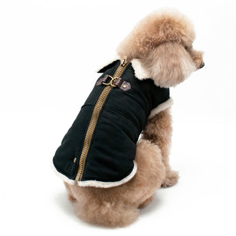 Dogo Pet Furry Runner Dog Coat Black