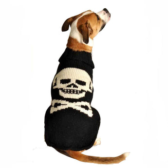 Handmade Black Skull Organic Wool Dog Sweater - Rocco's Pets  - Sweater - Rocco's Pets