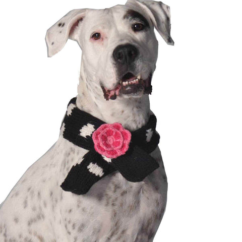 Organic Wool Knit Dog Scarf - Flower and Polka Dot - Rocco's Pets  - Scarves - Rocco's Pets