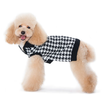 Houndstooth V-Neck Dog Sweater
