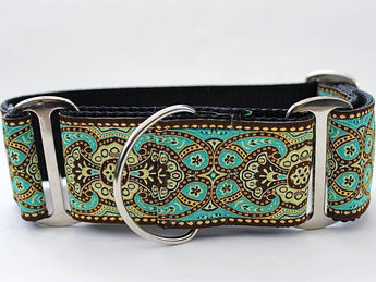 Martingale Ribbon Dog Collar Teal - Kashmir Collection