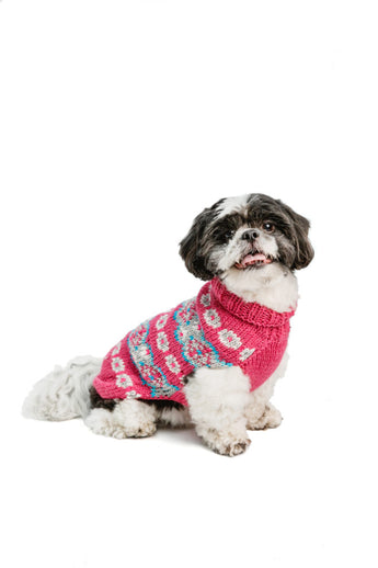 Chilly Dog Fairisle Alpaca Rose Handmade Dog Sweater