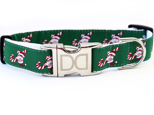 Candy Cane Santa Nylon Adjustable Dog Collar - Rocco's Pets  - Collars - Diva Dog M/L - 1