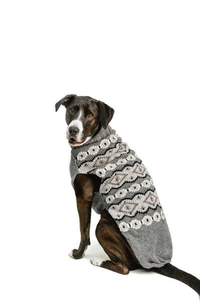 Chilly Dog Fairisle Alpaca Silver Handmade Dog Sweater