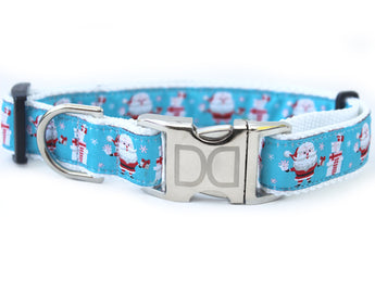 Santa Snowflake Ribbon Adjustable Dog Collar