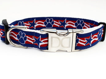 Stars & Paws Patriotic Nylon Dog Collar - Rocco's Pets  - Collars - Diva Dog Teacup
