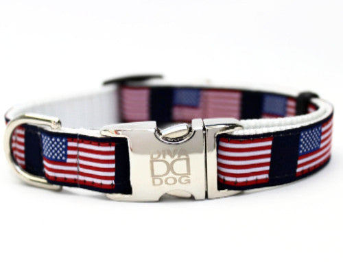Stars N Stripes Patriotic Nylon Dog Collar - Rocco's Pets  - Collars - Diva Dog Teacup