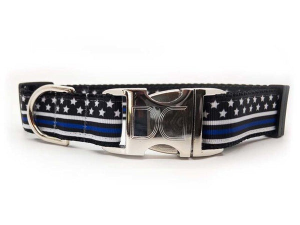 Thin Blue Line Adjustable Dog Collar