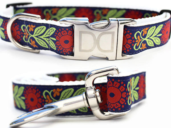 Perfect Poppy Adjustable Nylon Dog Collar - Rocco's Pets  - Collars - Diva Dog Set: M/L Collar & Leash ( Collar 1 in.x16-24 in-Leash:1 in.x 48 in.) - 1