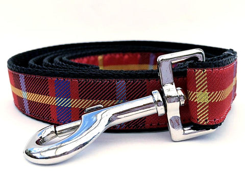 Vixen Plaid Tartan Holiday Ribbon Dog Leash