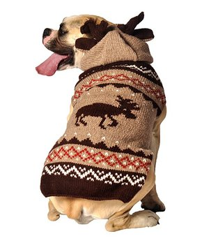 Handmade Organic Wool Dog Sweater - Moose with Hoodie