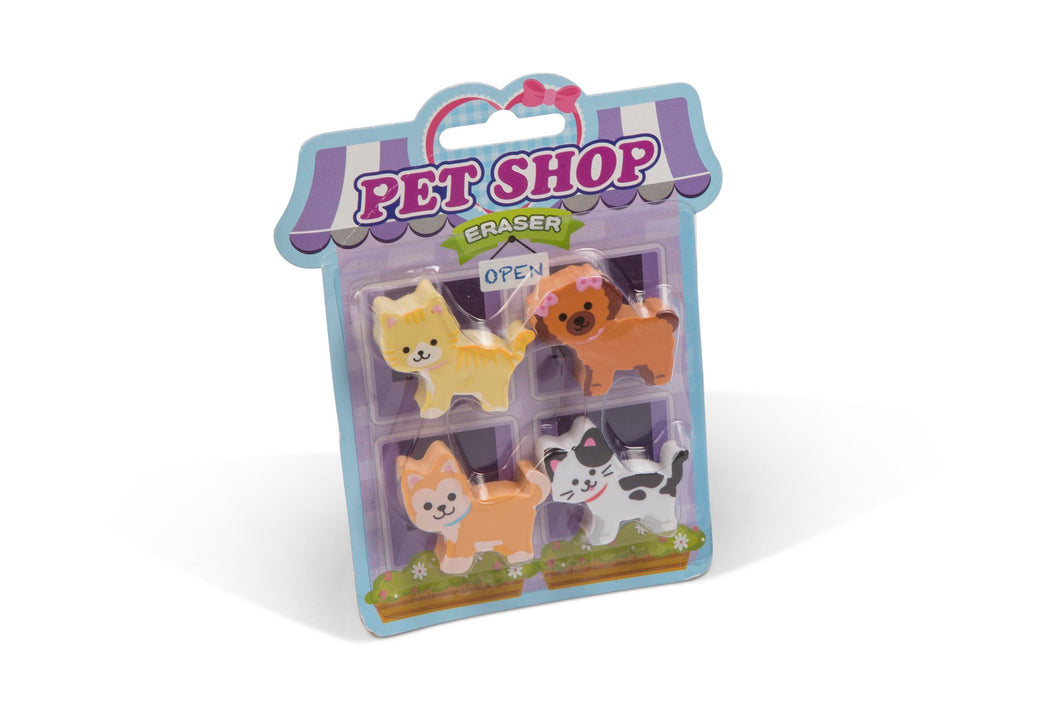 Pet Shop 4 Erasers on Card