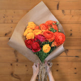 Assorted Ranunculus (10 Orange, 10 Gold, 10 Red) Jumbo 30 Stem Bunch