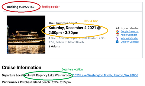 Screenshot of a confirmation email with booking number, departure date & time, and departure location circled.