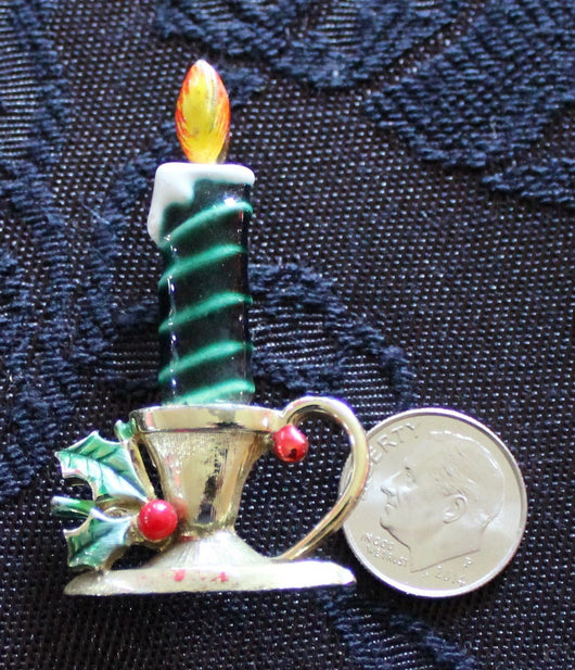 Beatrix  Enamel Christmas Candlestick Pin - Old Orchard Antiques And Collectibles