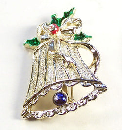Vintage Gerrys Silver Tone Christmas Bell Pin - Old Orchard Antiques And Collectibles