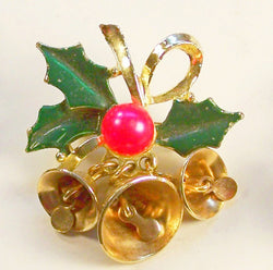 Vintage Bells and Holly Christmas Pin - Old Orchard Antiques And Collectibles