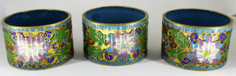 3 Vintage Cloisonne Champleve Napkin Rings - Old Orchard Antiques And Collectibles