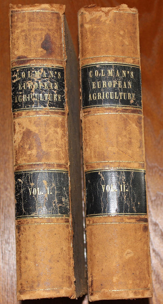 2 Volume Set Coleman's European Agriculture 1849 - Old Orchard Antiques And Collectibles