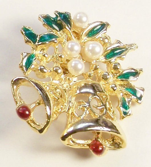 Vintage Enamel Pearl Bell And Holly Christmas Pin - Old Orchard Antiques And Collectibles