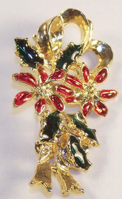 Vintage Poinsettia Enamel Christmas Pin - Old Orchard Antiques And Collectibles