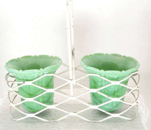 Porcelain China And Glassware - Vintage Green Akro Agate Glass Double Planter Pots With Metal Basket