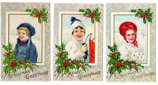 3 Victorian Children Christmas Postcards - Old Orchard Antiques And Collectibles