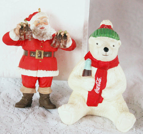 Coca Cola Santa Ornament And Polar Bear Christmas Light Cover - Old Orchard Antiques And Collectibles