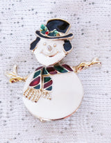 Snowman Bobble Head Enamel Pin - Old Orchard Antiques And Collectibles