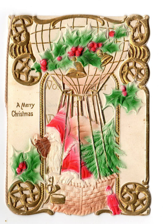 Victorian Embossed Santa Christmas Card Germany - Old Orchard Antiques And Collectibles - 1