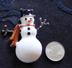 Vintage Anne Klein Christmas Snowman Pin Brooch - Old Orchard Antiques And Collectibles