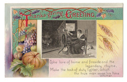 Vintage Embossed Thanksgiving Postcard With Spinning Wheel - Old Orchard Antiques And Collectibles