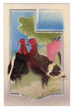 Vintage Embossed Thanksgiving Postcard With Turkeys - Old Orchard Antiques And Collectibles