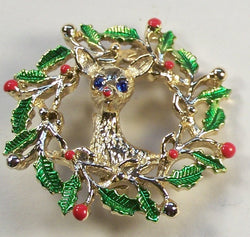 Vintage Gerry's Reindeer And Wreath Christmas Pin Brooch - Old Orchard Antiques And Collectibles