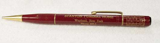 Stanton Funeral Home Mechanical Calendar Pencil Wayland NY - Old Orchard Antiques And Collectibles